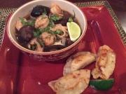 Spicy Shrimp Noodle Soup served with Vegetable Dumplings