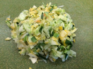 Zucchini and Squash Ribbons, Chopped