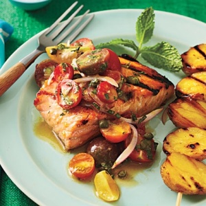 Grilled Char with Yukon Gold Potatoes and Tomato-onion Relish by Cooking Light Magazine