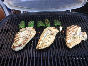 Chicken and Jalapenos on the grill and browning nicely!