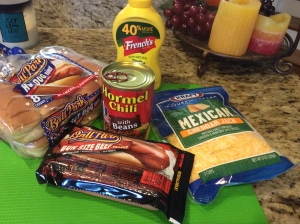 Everything I need for a Chili Dheese Dog Casserole!