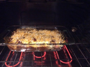 In the oven, topped with cheese...I can see the potential already!