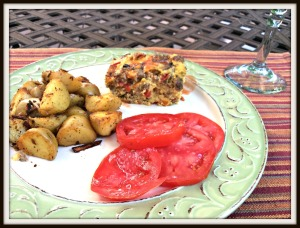 Served along side some fried potatoes with onion and red pepper, and some good slice tomatoes