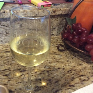 "My ""Bones"" glass of wine given to my by son, Jarrod"