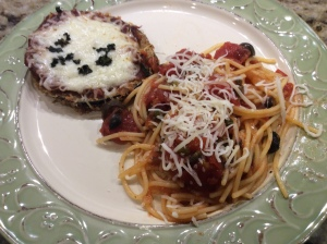 My version of Eggplant Parmesan with a side of pasta