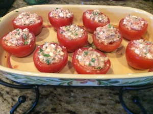 Stuffed Tomatoes ready to go in the oven