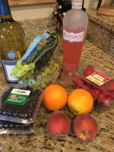 The ingredients I had to work with...I ended up not using the grapes because I didn't have room!
