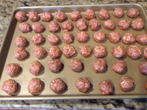 Meatballs ready to go into oven