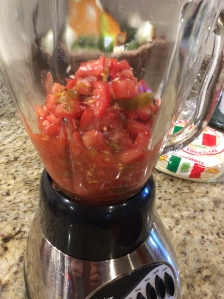 Mixture going into the blender