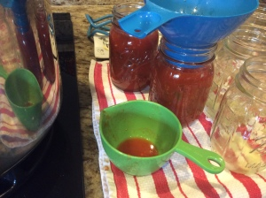 Ladle sauce into jars
