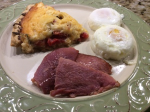 My husband's plate...Tomato Pie, Country Ham, and 2 Poached Eggs!
