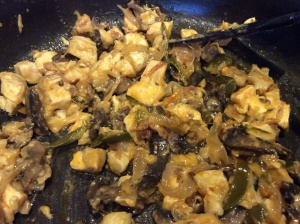 Chicken mixture added into the saute pan