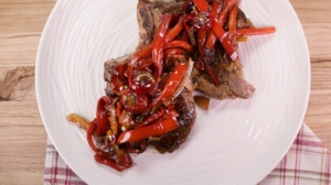 Mario Batali's Pork Chops with Peppers and Capers