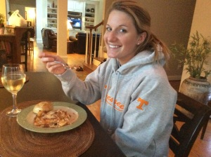 Ashleigh, enjoying her dinner very much!  (FYI...I adore her!)