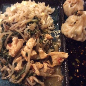 Szechwan Chicken Stir Fry with Fried Rice and Steamed Chicken and Shrimp Dumplings