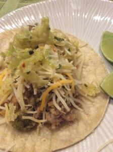 My pork carnita topped with homemade cilantro slaw,homemade tomatillo sauce, and cheese..YummY