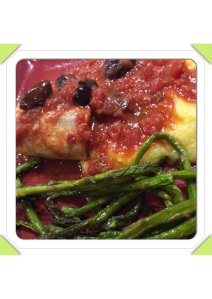 Braised Mahi Mahi served along with Creamy Polenta and Roasted Baby Asparagus