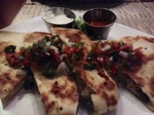 Ashleigh and I had the Roasted Poblano Quesadillas (I added chicken to mine) delish!