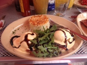 Ashleigh's Bella! Bella! Benny with prosciutto and Taleggio cheese with poached eggs