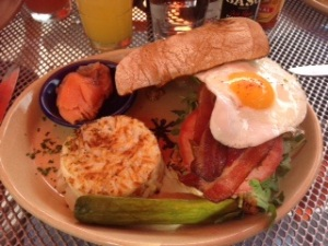 Jeff's B.E.A.T Sandwich with Pork Belly Bacon, Fried Egg, on Ciabatta Bread with bacon-tomato aioli