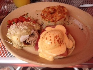 Hunter's Benedict of 2:  Ham Benedict and Chile Verde Benedict
