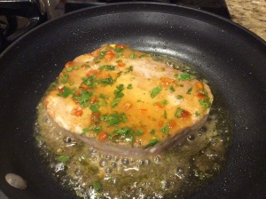 Both sides are seared lightly then add that lovely sauce!