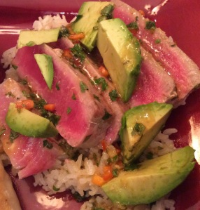 A perfectly seared tuna over rice with a tasty sauce...so yummy!
