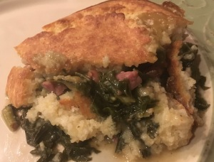 Bacon and Greens Pot Pie with a Cornbread Crust